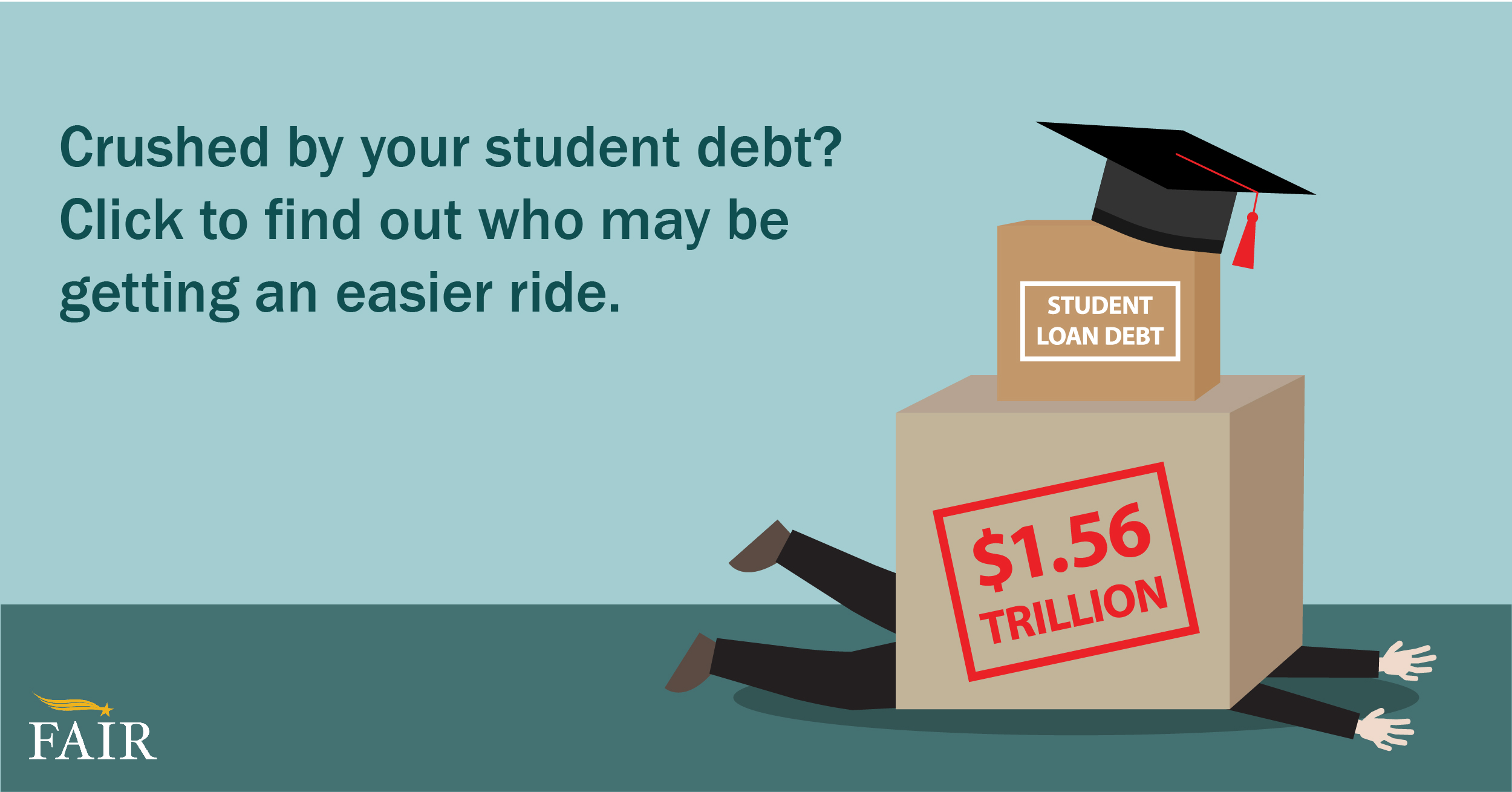 Graduate student under boxes of college loan debt