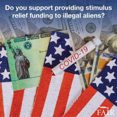 Stimulus check and American flags