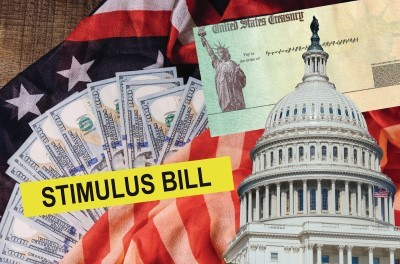 Stimulus bill, American flag and United States capitol
