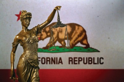 California flag and lady of justice