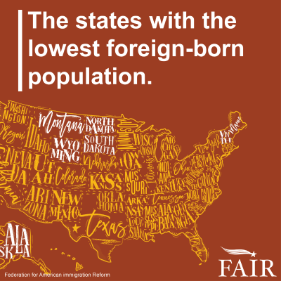 Image of U.S. map of states with lowest foreign-born popluation